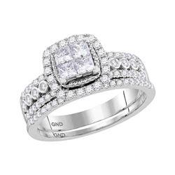 Diamond Halo Bridal Wedding Engagement Ring Band Set 1.00 Cttw 14kt White Gold