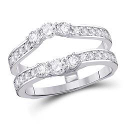 Diamond Wrap Ring Guard Enhancer 1.00 Cttw 14kt White Gold