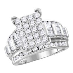 Diamond Cindys Dream Cluster Bridal Wedding Engagement Ring 3.00 Cttw 10kt White Gold