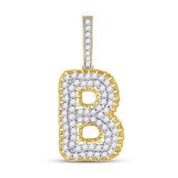 "Mens Diamond ""B"" Charm Pendant 1-3/8 Cttw 10kt Yellow Gold"