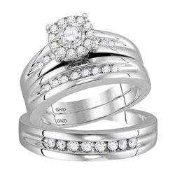 His & Hers  Diamond Solitaire Matching Bridal Wedding Ring Band Set 5/8 Cttw 10kt White Gold