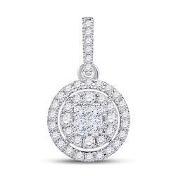 Diamond Fashion Halo Cluster Pendant 1/2 Cttw 14kt White Gold
