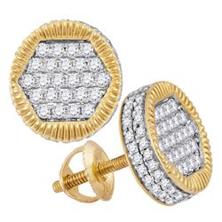 Mens Diamond 3D Circle Cluster Stud Earrings 3/4 Cttw 10kt Yellow Gold