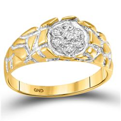Mens Diamond Cluster Nugget Band Ring 1/20 Cttw 10kt Yellow Gold