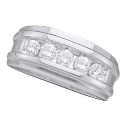 Round Channel-set Diamond Mens Wedding Band 1/2 Cttw 14k White Gold