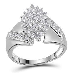 Diamond Cluster Ring 1/2 Cttw 10kt White Gold