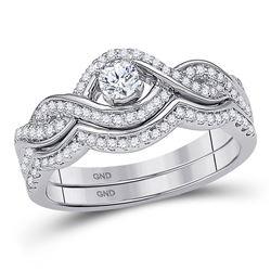 Diamond Bridal Wedding Engagement Ring Band Set 1/2 Cttw 10k White Gold