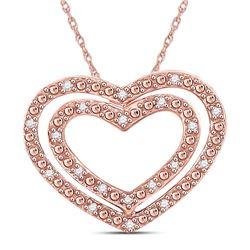 Diamond Double Heart Pendant 1/12 Cttw 10kt Rose Gold