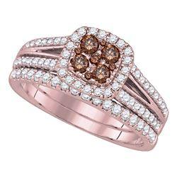 Round Brown Diamond Bridal Wedding Engagement Ring Band Set 1.00 Cttw 14kt Yellow Gold