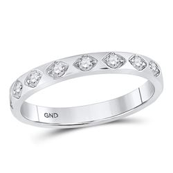 Diamond Flush Diamond Shaped Band Ring 1/5 Cttw 10kt White Gold
