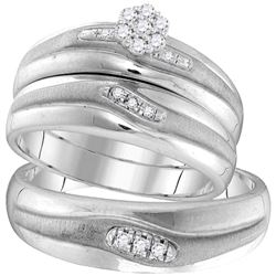 His & Hers Diamond Cluster Matching Bridal Wedding Ring Band Set 1/5 Cttw 10kt White Gold