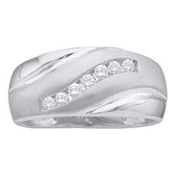 Mens Diamond Band Ring 1/4 Cttw 14kt White Gold