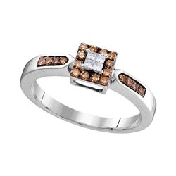 Round Brown Diamond Square Cluster Ring 1/4 Cttw 10kt White Gold