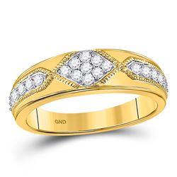 Mens Diamond Milgrain Wedding Band Ring 1/2 Cttw 14kt Yellow Gold