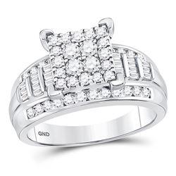 Diamond Square Cluster Bridal Wedding Engagement Ring 1.00 Cttw 10kt White Gold