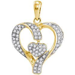 Diamond Heart Pendant 1/6 Cttw 10kt Yellow Gold