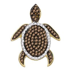 Round Brown Diamond Sea Turtle Tortoise Pendant 1/3 Cttw 10kt White Gold