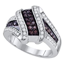 Round Brown Diamond Crossover Ring 1/2 Cttw 10kt White Gold