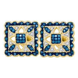 Round Blue Color Enhanced Diamond Square Cluster Earrings 1/4 Cttw 10kt Yellow Gold