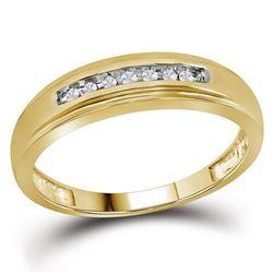 Mens Diamond Wedding Anniversary Band Ring 1/12 Cttw 10kt Yellow Gold