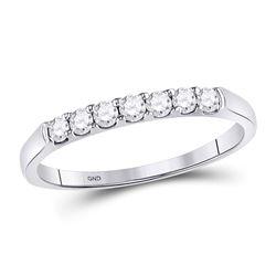 Diamond Single Row Wedding Band 1/4 Cttw 14kt White Gold