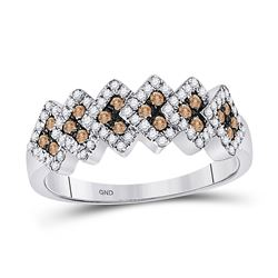 Round Brown Diamond Band Ring 1/2 Cttw 10kt White Gold