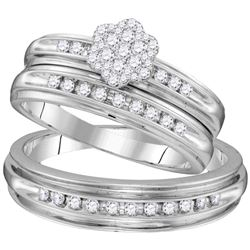 His & Hers Diamond Cluster Matching Bridal Wedding Ring Band Set 1/2 Cttw 10kt White Gold