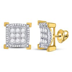 Mens Diamond Squared Cluster Earrings 1.00 Cttw 14kt Yellow Gold