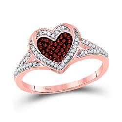 Round Red Color Enhanced Diamond Heart Ring 1/5 Cttw 10kt Rose Gold