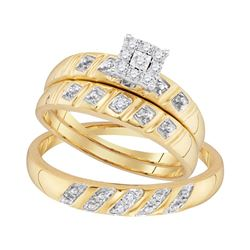His & Hers Diamond Cluster Matching Bridal Wedding Ring Band Set 1/8 Cttw 10kt Yellow Gold