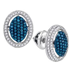 Round Blue Color Enhanced Diamond Oval Frame Cluster Earrings 1/2 Cttw 10kt White Gold
