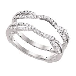 Diamond Wrap Ring Guard Enhancer Wedding Band 1/3 Cttw 14kt White Gold