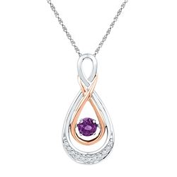 Round Lab-Created Amethyst Diamond Moving Twinkle Teardrop Pendant 1/20 Cttw 10kt Two-tone Gold