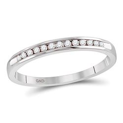 Diamond Single Row Channel-set Wedding Band 1/10 Cttw 14kt White Gold
