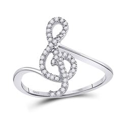Diamond Treble Clef Music Note Fashion Ring 1/6 Cttw 10kt White Gold