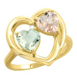 1.91 CTW Diamond, Amethyst & Morganite Ring 10K Yellow Gold - REF-26H5M