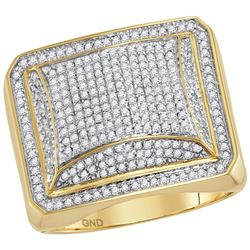 Mens Diamond Domed Square Cluster Ring 1.00 Cttw 10kt Yellow Gold