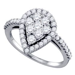Diamond Teardrop-shape Cluster Engagement Anniversary Bridal Ring 1.00 Cttw 10k White Gold