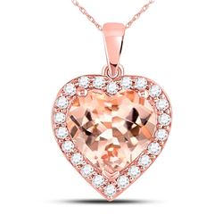 Morganite Heart Diamond Pendant 2-1/4 Cttw 10kt Rose Gold
