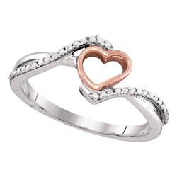 Diamond 2-tone Pink Rose-tone Teen Slender Heart Ring 1/12 Cttw 10k White Gold