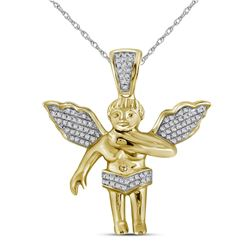 Mens Diamond Polished 3D Guardian Angel Cherub Charm Pendant 1/6 Cttw 10k Yellow Gold