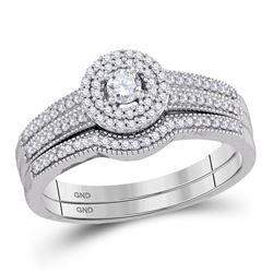 Diamond Halo Bridal Wedding Engagement Ring Band Set 1/3 Cttw 10k White Gold
