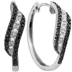 Round Black Color Enhanced Diamond Hoop Earrings 1/5 Cttw 10kt White Gold