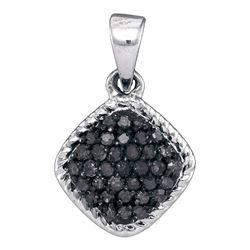 Round Black Color Enhanced Diamond Cluster Pendant 1/4 Cttw 10kt White Gold