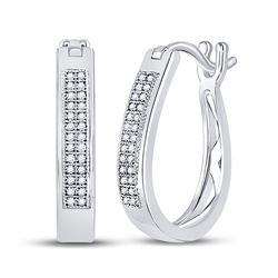 Diamond Hoop Earrings 1/6 Cttw 10kt White Gold