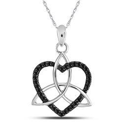 Round Black Color Enhanced Diamond Triquetra Heart Pendant 1/10 Cttw 10kt White Gold