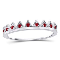 Round Ruby Beaded Chevron Stackable Band Ring 1/10 Cttw 10kt White Gold