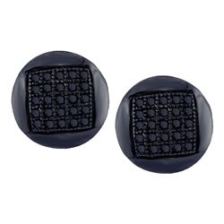 Mens Round Black Color Enhanced Diamond Circle Cluster Stud Earrings 1/6 Cttw 10kt White Gold