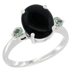 1.79 CTW Onyx & Green Sapphire Ring 14K White Gold - REF-30R3H