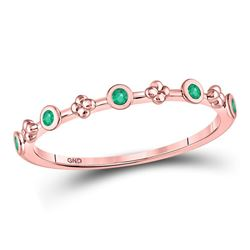 Round Emerald Dot Flower Stackable Band Ring 1/12 Cttw 10kt Rose Gold